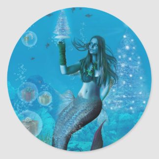 Christmas Under the Sea (Stickers) Classic Round Sticker