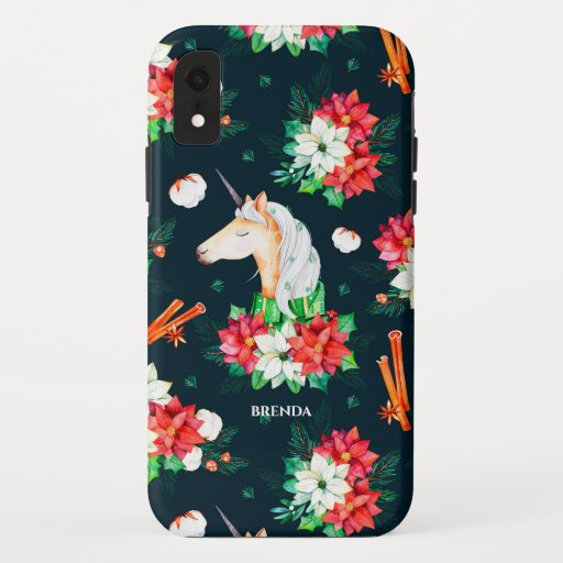 Christmas unicorn and poinsettia pattern iPhone XR case