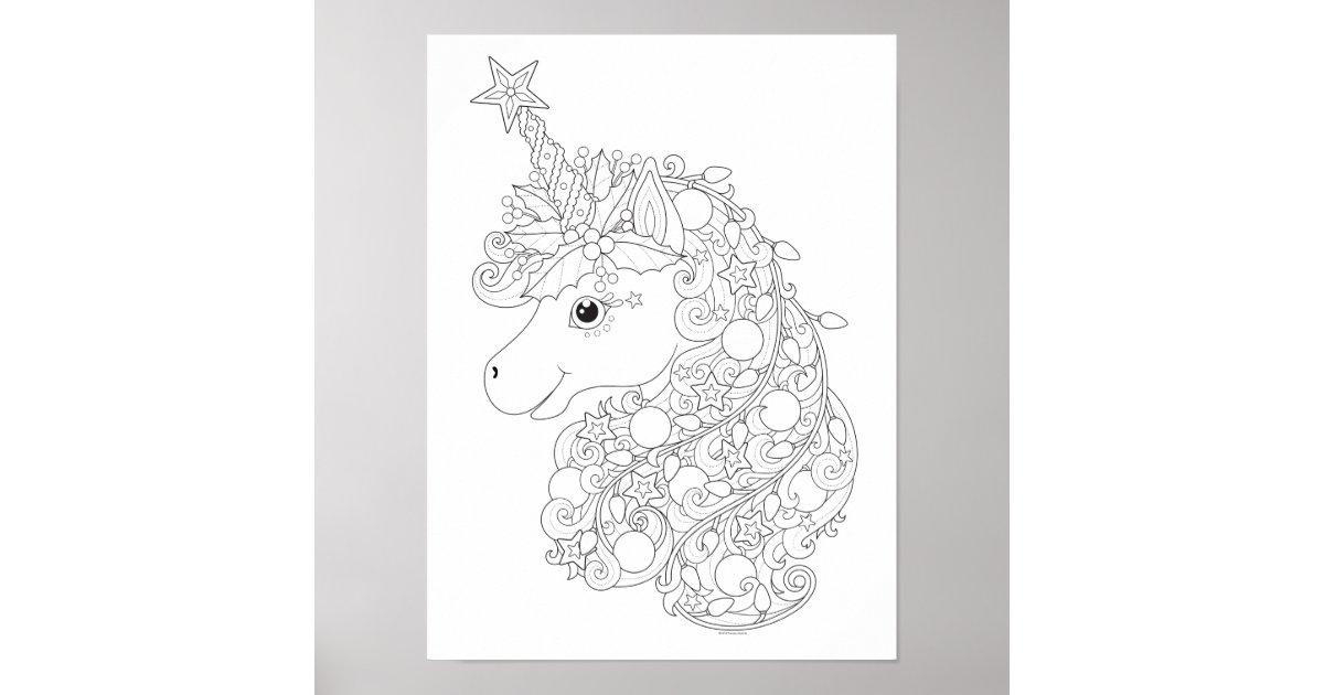 Christmas Unicorn Coloring Poster by Thaneeya   Zazzle.com