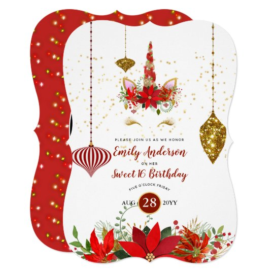 Christmas Unicorn.Christmas Unicorn Face Birthday Red Gold Fun Invitation