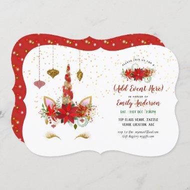 Christmas Unicorn Face Invitations ANY EVENT