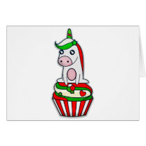 Christmas Unicorn in Cupcake Card