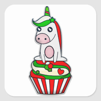 Christmas Unicorn in Cupcake Square Sticker