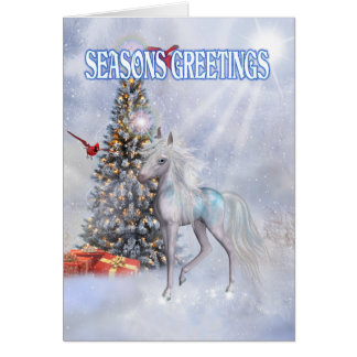 Christmas Unicorn in the Clouds Card