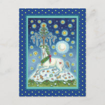 CHRISTMAS UNICORN, MAGIC HORN TREE, FANTASY HORSE POSTCARD
