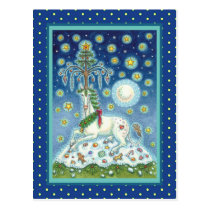 CHRISTMAS UNICORN, MAGIC HORN TREE, FANTASY HORSE POSTCARD