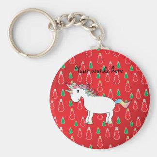 Christmas unicorn red snowman pattern keychain