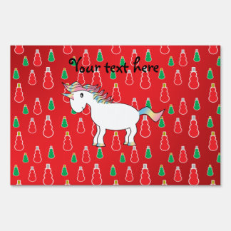 Christmas unicorn red snowman pattern lawn signs for Christmas yard signs patterns