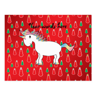 Christmas unicorn red snowman pattern postcard