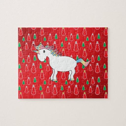 Christmas unicorn red snowman pattern jigsaw puzzle