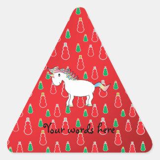 Christmas unicorn red snowman pattern triangle sticker
