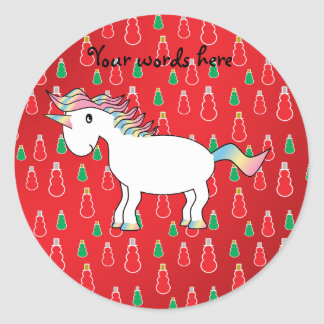 Christmas unicorn red snowman pattern classic round sticker