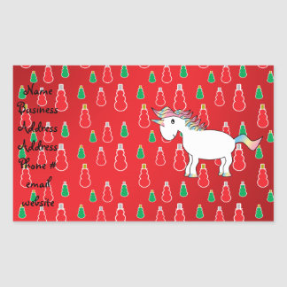 Christmas unicorn red snowman pattern rectangular sticker