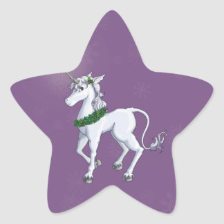 Christmas Unicorn Star Sticker