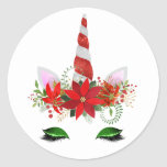 """Christmas Unicorn Stickers<br><div class=""""desc"""">These unique stickers feature a pretty unicorn face with a candy cane horn. Perfect for scrapbooking,  gift giving or party bags!</div>"""