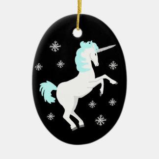 Christmas Unicorn with Snowflakes Christmas Ornaments