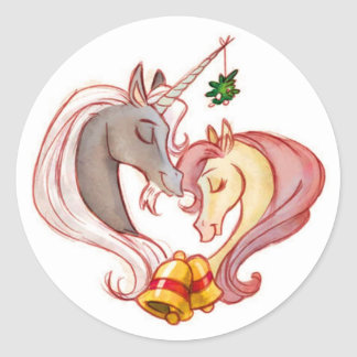 Christmas Unicorns Classic Round Sticker