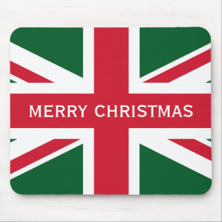 Christmas Union Jack ~  Red, Green and White Mouse Pad