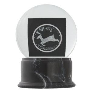 christmas unique black white hand painted snow globe