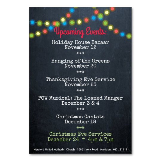 Christmas Upcoming Events Church Table Card Zazzle Com