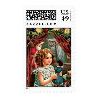 Christmas USA postage stamp, vintage little girl.