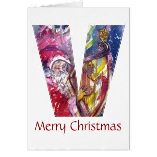 CHRISTMAS V LETTER  / SANTA PLAYING HARP CARD