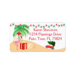 """Christmas Vacation Santa Pink Flamingo on a Beach Label<br><div class=""""desc"""">These are so cute and festive for the Holidays. If you are having a party and need special labels or a theme,  contact me I will create them for you.  If you need a custom order contact me at invitesanddelites@comcast.net</div>"""