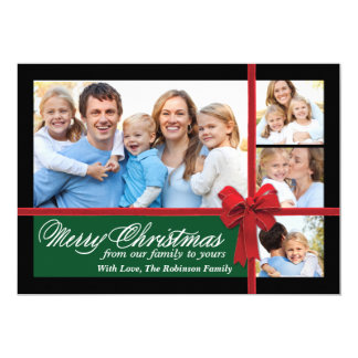Christmas Velvet Ribbon 4 Photo Collage Card