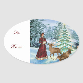 Christmas Victorian Gift Tag Oval Stickers