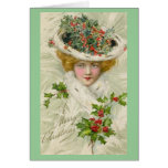 Christmas Victorian Lady holding a Sprig of Holly Card