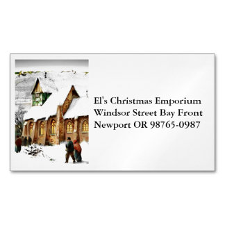 Christmas Village Church Magnetic Business Card