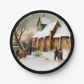 Christmas Village Church Paper Plate