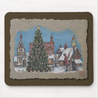 Christmas Village Lamplighter Mouse Pad