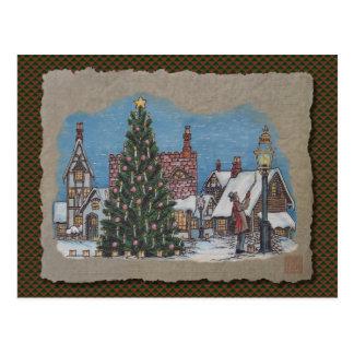 Christmas Village Lamplighter Postcard
