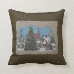 Christmas Village Lamplighter Throw Pillows