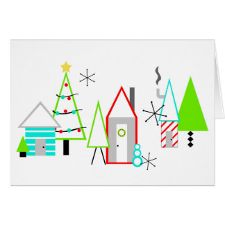 christmas village mid century modern card