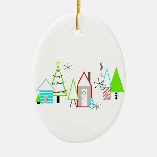 christmas village mid century modern ceramic ornament