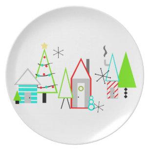 christmas village mid century modern melamine plate  sc 1 st  Zazzle & Mid Century Modern Christmas Plates | Zazzle