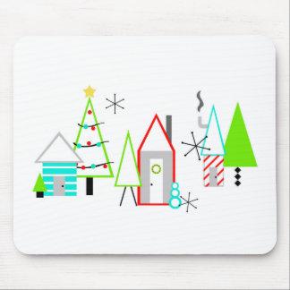 christmas village mid century modern mouse pad