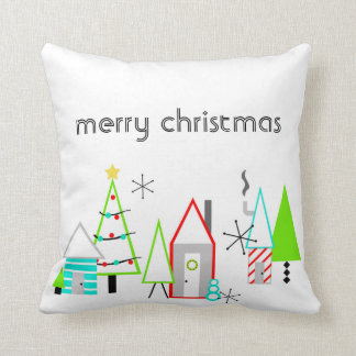 christmas village mid century modern throw pillow