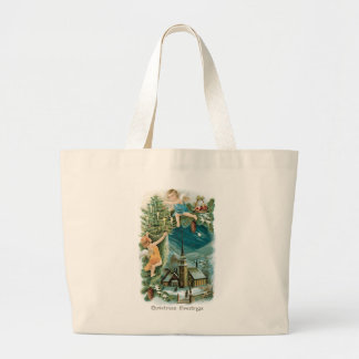 Christmas Village with Angels Large Tote Bag