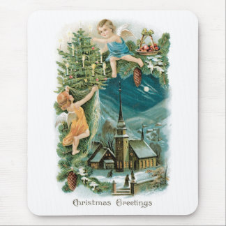 Christmas Village with Angels Mouse Pad
