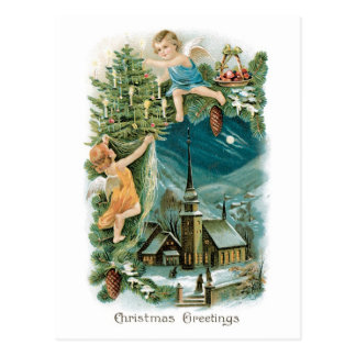 Christmas Village with Angels Postcard