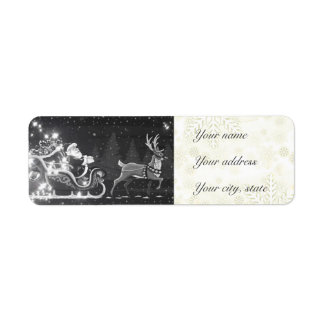 Christmas vintage black and white Santa decor Label