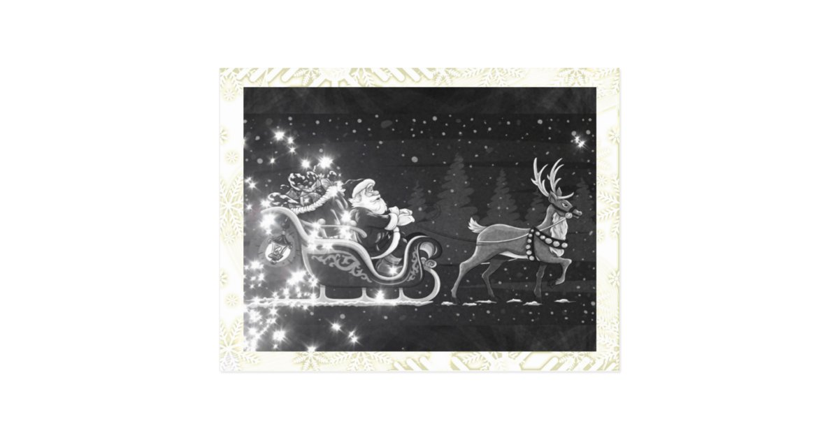christmas vintage black and white santa decor postcard