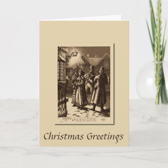 Christmas Vintage Carol Singers And Musicians Card
