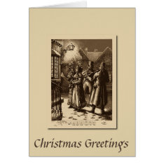 Christmas Vintage Carol Singers and Musicians Card at Zazzle