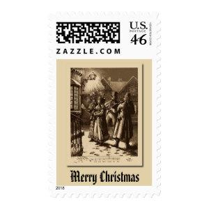 Christmas Vintage Carol Singers, Musicians Stamp stamp