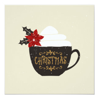 Christmas Vintage Coffee Cup Red Poinsettia Card