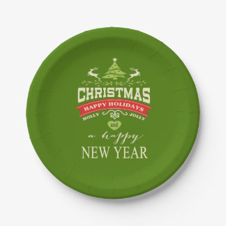 Christmas Vintage Deer Word Art | green Paper Plate